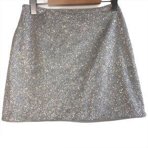 Forever 21 Silver Sequined Mini Skirt Small